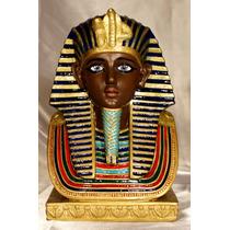Faraon Egipcio Estatuilla De Yeso Pintada A Mano