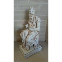 Escultura Moises Miguel Angel Yeso Patinado47x22cm Estatua