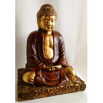 Escultura De Buda En Yeso Patinado Y Dorado