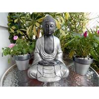 Buda De Yeso Meditando, Pintado A Mano.