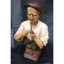 Escultura Abuelo Fumando Pipa Muy Bien Lograda 56 Cm De Alto