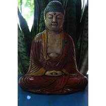 Estatua Buda De Yeso Policromado Y Avejentado 30cm