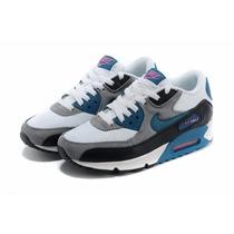 Zapatillas Nike Airmax 90 Blanco Gris Azul Unisex Originales