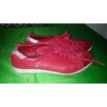 Zapatilla Cuero Y Tela Rojo Adidass 37