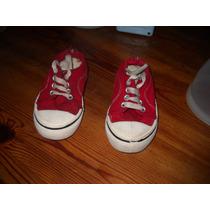 Zapatillas Clasicas Rojas De Lona Talle 21
