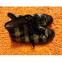 Zapatillas Marca Kickers Nº 36 Lona- Cuidadas- Negras Y Gris