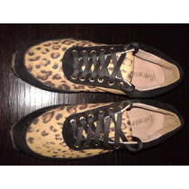 Zapatillas Mujer Cuero Legitimo Animal Print