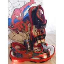 Sandalias Con Luces Spiderman +bolsa+libro Pintar+stickers
