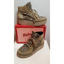 Zapatillas Plataforma, Bulwark, Cuero Legítimo Y Leopardo