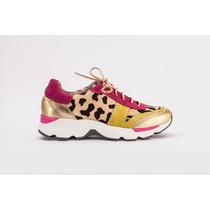Zapatillas Mujer Plataforma Animal Print Fuxia Dorado