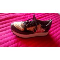Zapatillas Sneakers Con Plataforma Mujer Doradas Charol T-37