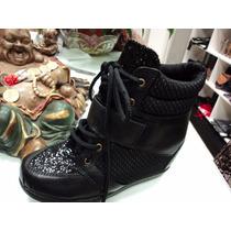 Zapatillas De Cuero Con Plataforma Escondida
