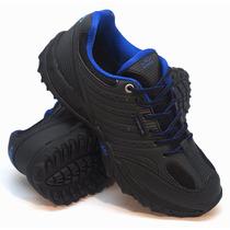 Zapatillas Olympikus Modelo Outdoor Niños Field Negro/azul