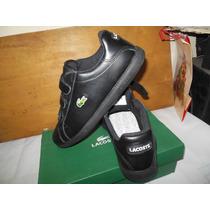 Zapatillas Lacoste Prep Mr Velcro Negro Cuero En Caja