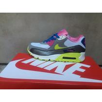 Nike Air Max 90 Blanco Gris Pipa Amarilla De Dama Oferta !!!