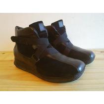 Zapatillas Botitas Mujer Cuero Y Gamuza Negras Nº 39