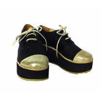 Zapatos Plataforma Mujer Cuero Cordones Crippers Abotinados
