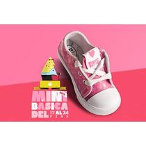 Zapatillas De Cuero Nena Rosa Con Corazones Nº Del 17 Al 24