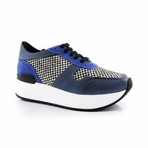 Zapatillas Con Plataforma Cuadriculadas Azul La Leopolda