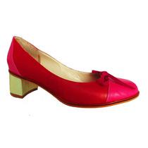 Zapatos Cuero Rojo Fuscia Taco Medio Platino N°38- Frou Frou