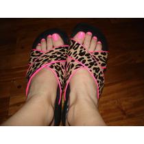 Sandalias Plataformas Leopardo Negras Y Fuccias, Talle 39.