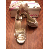 Zapato Plateado Clásico Nº35 Plataforma De 1.5 Cm, Nuevo!!!