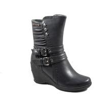 Botas Mujer Invierno Zapatos Chocolate Gondola Hebillas 3897