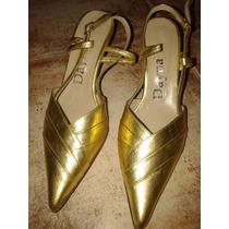 Hermosas Sandalias Doradas * De Cuero* Directo De Fabrica