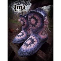 Botas Tejidas Crochet Invierno Suela Pvc. Forradas Pachtwork