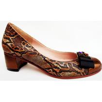 Zapatos Cuero Reptil Combinado Con Cuero Bronce - Ultimo 36!