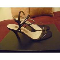 Sandalias Importadas Negras Con Detalle De Strass