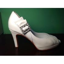 Aprovecha!!! Zapatos Ferraro De Cuero Blanco