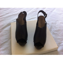 Zapatos De Taco De Madera Y Cuero