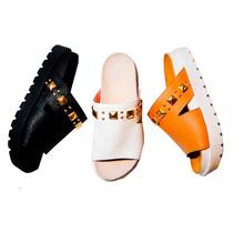 Clippate Sandalias Zapatos Zuecos Cuero Tachas Doradas Bajos