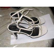 Sandalias Taco Aguja Cuadrado Color Blanco 9,5 Cms Foot