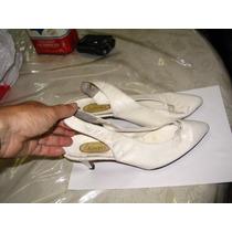 Sandalias Taco Aguja Zapato Cerrado Adelante Blanco 39 7 Cms