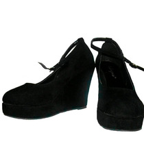 Bellos Zapatos De Plataforma Gamuzados- Importados! Nº 38/39