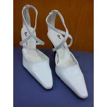 Zapato Blanco-novias-con Pulsera Y Cierre-liquidación !!!