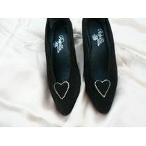 Zapato Gamuza Negro Nº 37 Fino Fiesta Corazón De Strass