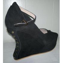 Zapatos Sandalias Con Plataforma Taco Lady Gaga 100% Cuero