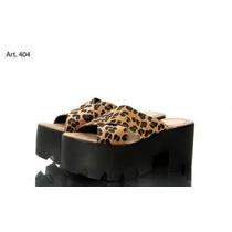 Sandalia Tiras Leopardo Cruzadas Con Plataforma Base Negra