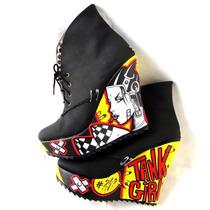 Botinetas Plataformas Tank Girl Bang! - Punk Rock Riot Grrrl
