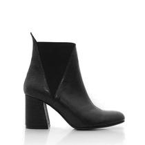 Botas De Cuero Tramado Mujer Punta Redonda Zapatos Blaque