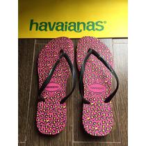 Havaianas Leopardo Fucsia Y Negro Con Strass Nuevas
