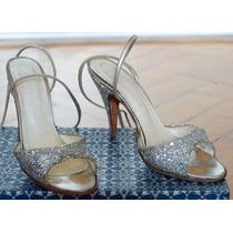 Zapatos Sandalias Taco Aguja Fiesta Sexy Con Brillo Plateado