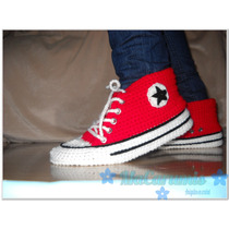 Pantuflas Tipo Converse All Star Crochet! Talles Y Colores!!