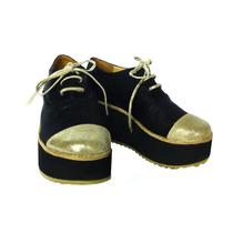Plataformas Zapatos Abotinados Creepers Negro Oferta