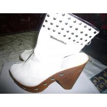 Zapatos Tabatha Blancos Con Tachas, Taco Y Plataforma