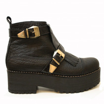 Clippate,botas Plataforma,cuero,flecos,rocker,borcegos