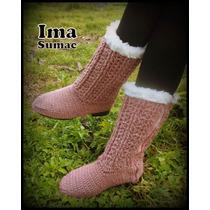 Botas De Invierno Artesanales Tejidas En Crochet. Suela Pvc